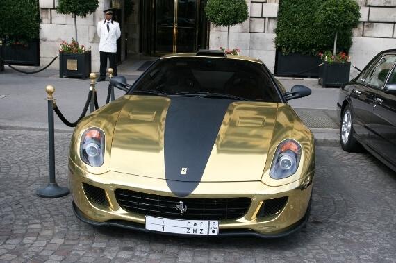 gold-ferrari